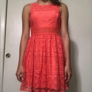 Coral laced dress